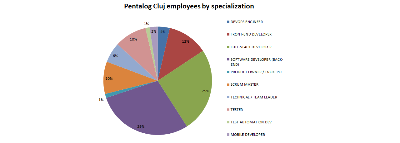 Pentalog Cluj employees by specialization