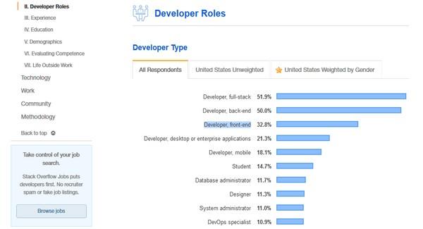 front-end javascript development - developer type