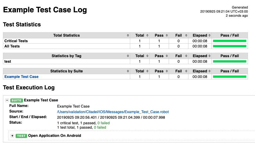test case log - mobile automation